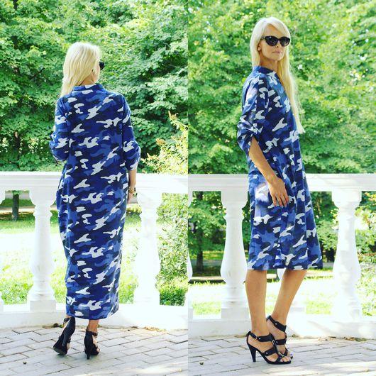 Платья ручной работы. Ярмарка Мастеров - ручная работа. Купить Платье-рубашка EGGDRESS MILITARY BLUE LONG. Handmade. солнечный