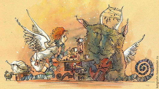 """Фантазийные сюжеты ручной работы. Ярмарка Мастеров - ручная работа. Купить """"Мелодия для одинокого контрабаса"""". Handmade. Бежевый, акварель"""