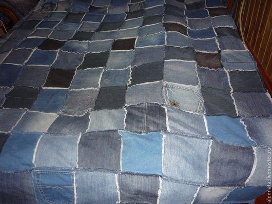 Текстиль, ковры ручной работы. Ярмарка Мастеров - ручная работа. Купить Покрывало из джинсы. Handmade. Ручная работа, покрывало пэчворк