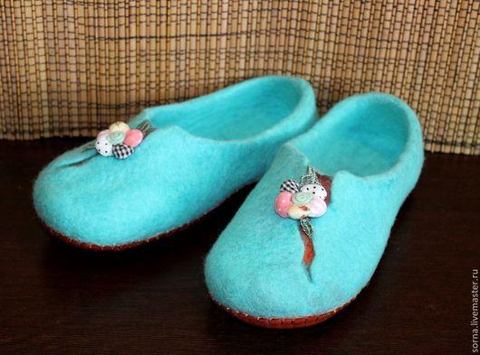 Обувь ручной работы. Ярмарка Мастеров - ручная работа. Купить Тапочки домашние валяные  Бирюза. Handmade. Бирюзовый, тапки из войлока