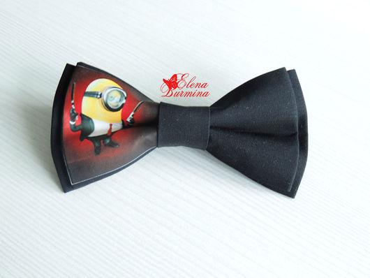 Галстуки, бабочки ручной работы. Ярмарка Мастеров - ручная работа. Купить Бабочка галстук с миньоном, хлопок. Handmade. Миньон, черный