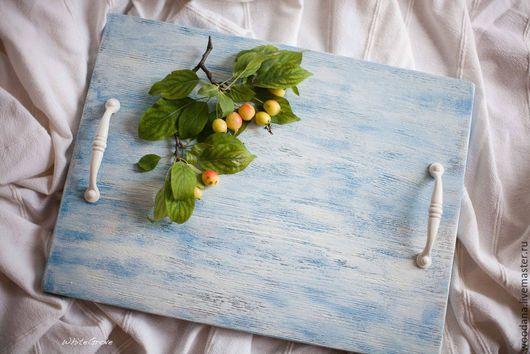 """Кухня ручной работы. Ярмарка Мастеров - ручная работа. Купить Деревянный поднос """"Летнее небо"""". Handmade. Голубой, фудфото, кухня"""
