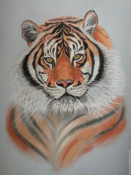 Животные ручной работы. Ярмарка Мастеров - ручная работа. Купить Портрет тигра. Handmade. Рыжий, пастель, картина в подарок