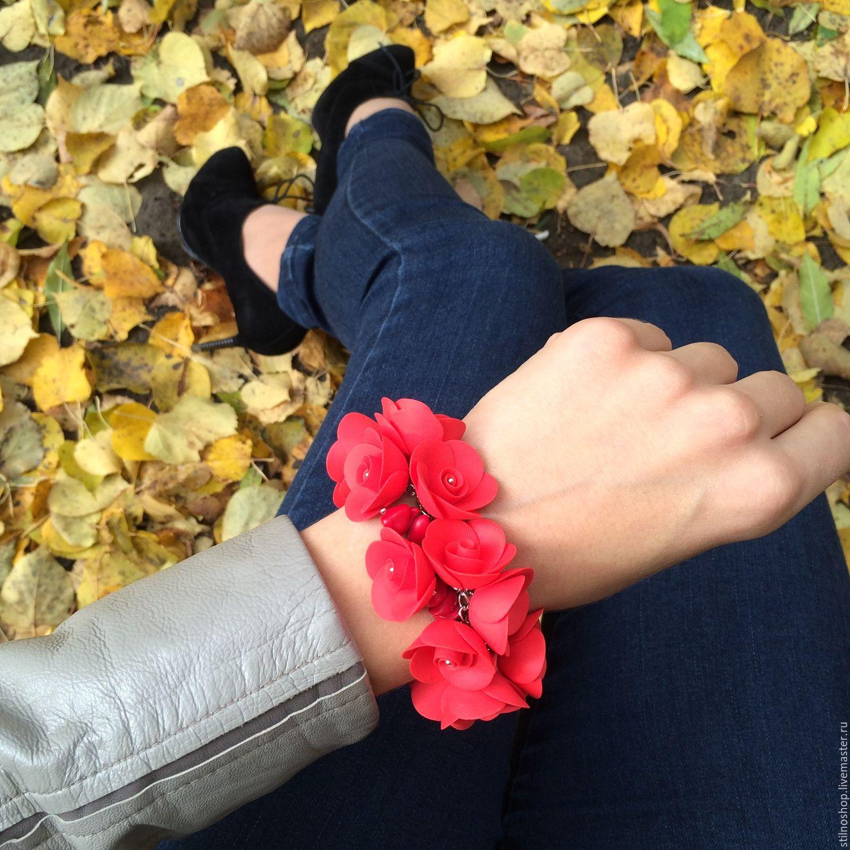 Браслет из цветов с кораллом, Браслет из бусин, Саранск,  Фото №1