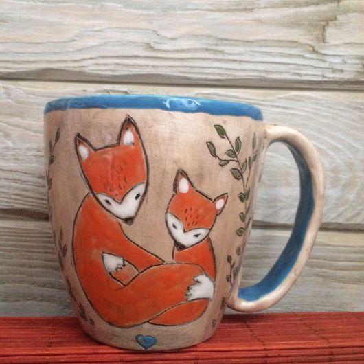 Кружки и чашки ручной работы. Ярмарка Мастеров - ручная работа. Купить Кружка с лисами. Handmade. Лиса