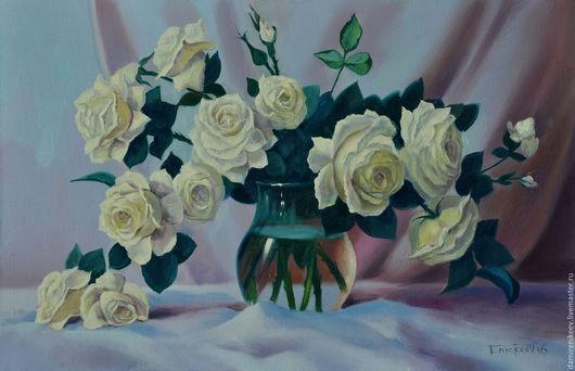 """Картины цветов ручной работы. Ярмарка Мастеров - ручная работа. Купить Картина с цветами маслом на холсте цветы """" Чайные розы"""". Handmade."""
