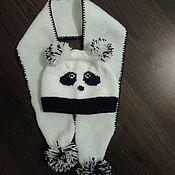 Работы для детей, ручной работы. Ярмарка Мастеров - ручная работа комплект Панда шапка, шарф варежки. Handmade.