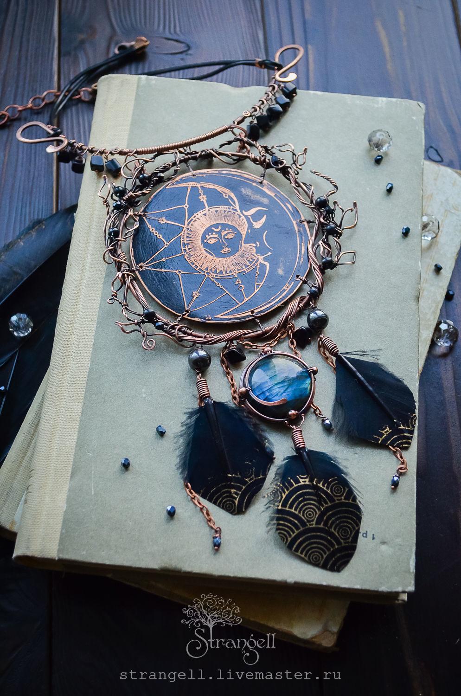 Copper necklace with labradorite Pendant with labradorite Moon Sun Night Black, Necklace, Ulan-Ude,  Фото №1