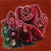 Картины и панно handmade. Livemaster - original item Rose. ( Drawing oil pastel). Handmade.