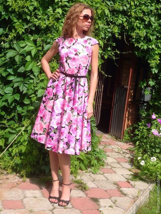 Платья ручной работы. Ярмарка Мастеров - ручная работа. Купить Платье летнее из хлопка Орхидеи на черном. Handmade. Разноцветный, хлопок