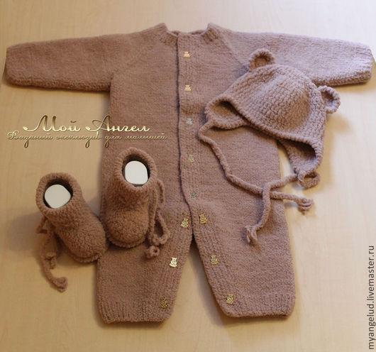 """Для новорожденных, ручной работы. Ярмарка Мастеров - ручная работа. Купить Комплект для новорожденных """"Плюшевый мишка"""". Handmade. Коричневый, шапочка"""
