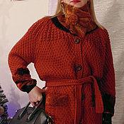 Одежда handmade. Livemaster - original item Knitted jacket with buttons with fur trim Dark cognac. Handmade.