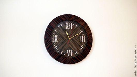 Часы для дома ручной работы. Ярмарка Мастеров - ручная работа. Купить Часы настенные деревянные круглые со стеклом - классические часы. Handmade.