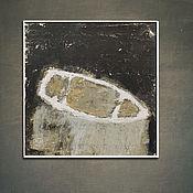 Картины и панно handmade. Livemaster - original item Painting on canvas 60h60 cm Boat (gray, black and white, beige, boat). Handmade.
