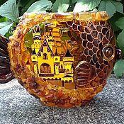 "Для дома и интерьера ручной работы. Ярмарка Мастеров - ручная работа Ваза ""Янтарная рыба"". Handmade."