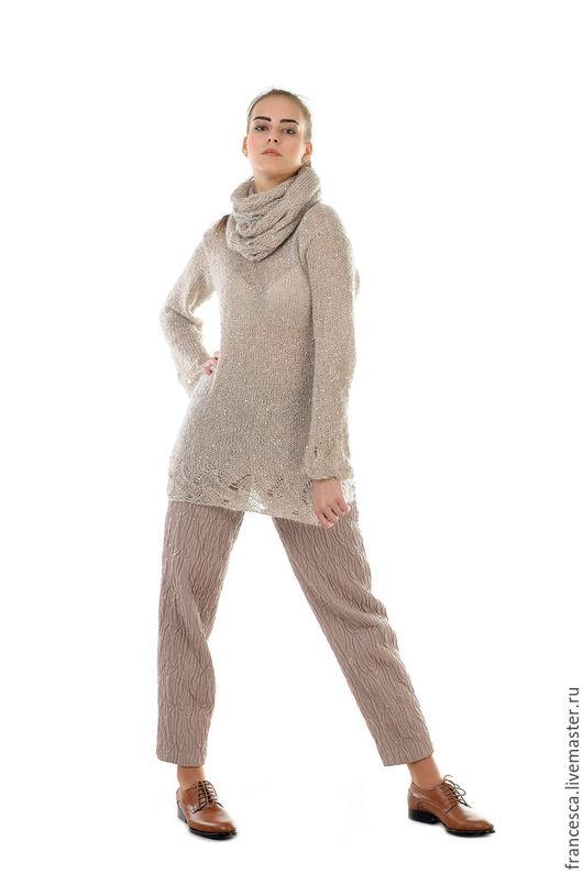 Туника мохеровая ажурная с пайетками и шарф-снуд ручной работы. Дизайнерская одежда. Cashmere Francesca