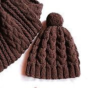 Работы для детей, handmade. Livemaster - original item Set for boy, knitted Hot chocolate, hat, scarf. Handmade.