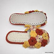 Обувь ручной работы handmade. Livemaster - original item Slippers: Flip-flops Flowerbed, half-wool, p. .37-38. Handmade.