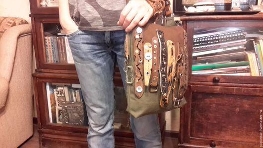 Женские сумки ручной работы. Ярмарка Мастеров - ручная работа. Купить Ягдташ - 2. Handmade. Хаки, сумка женская, медь