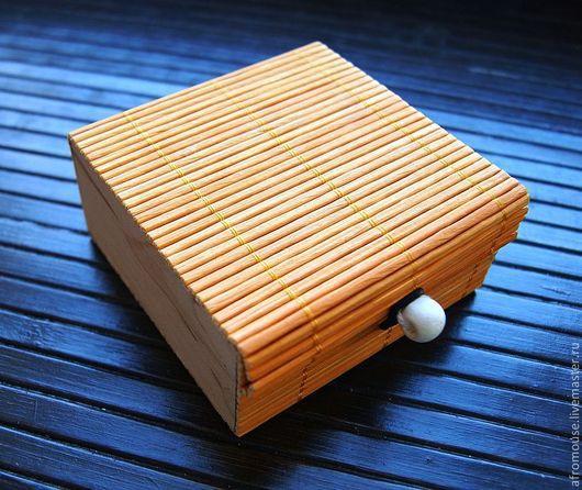 """Упаковка ручной работы. Ярмарка Мастеров - ручная работа. Купить коробочка для украшений """"Бамбук 5"""" 85х85х40мм оранжевая. Handmade. Оранжевый"""