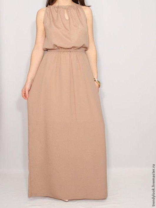 Платья ручной работы. Ярмарка Мастеров - ручная работа. Купить Светло-коричневое платье из шифона, летнее платье. Handmade. handmade