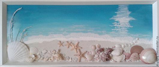 Пейзаж ручной работы. Ярмарка Мастеров - ручная работа. Купить Панно «Морское побережье». Handmade. Морская волна, морской стиль