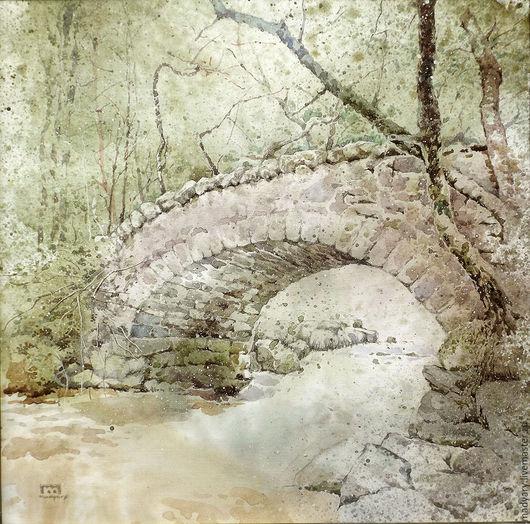Пейзаж ручной работы. Ярмарка Мастеров - ручная работа. Купить Картина акварелью Прогулка в прошлое (лес, зелень, оливковый). Handmade.