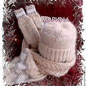 Аксессуары ручной работы. Ярмарка Мастеров - ручная работа КОМПЛЕКТ шапка шарф варежки - собачий пух. Handmade.