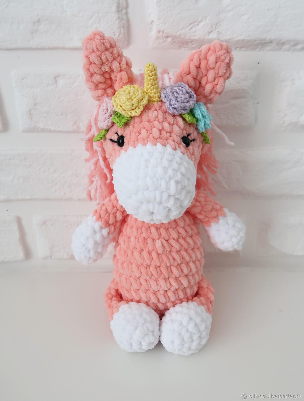 Buy Marshmallow flower unicorn.Amigurumi, knitted unicorn ...
