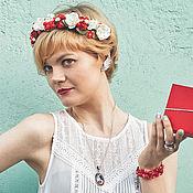 Украшения ручной работы. Ярмарка Мастеров - ручная работа Красный цветочный венок Украшение для волос Греческая повязка невесты. Handmade.