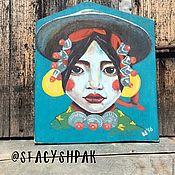 Картины ручной работы. Ярмарка Мастеров - ручная работа Тибетская девушка с красными губами. Handmade.