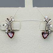 Украшения handmade. Livemaster - original item Silver earrings with garnets 6h6 mm and cubic zirconia. Handmade.