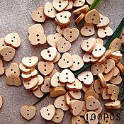 Пуговицы - сердечки деревянные светлые 13мм