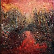 Картины и панно ручной работы. Ярмарка Мастеров - ручная работа Багряный закат в парке. Handmade.