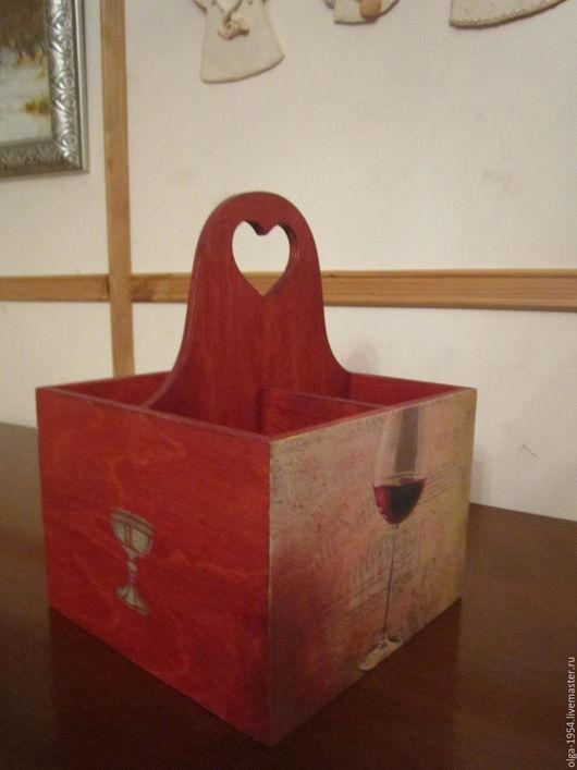 """Корзины, коробы ручной работы. Ярмарка Мастеров - ручная работа. Купить Короб-переноска для вина из дерева на 4 бутылки """"Вино - наш друг"""". Handmade."""