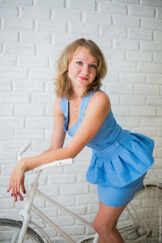 Платья ручной работы. Ярмарка Мастеров - ручная работа. Купить Дизайнерское платье Геодена. Handmade. Голубой, белый, Платье нарядное