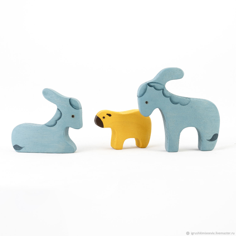 2 ослика + овечка из Вертепа (3 персонажа), Вальдорфские куклы и звери, Смоленск,  Фото №1