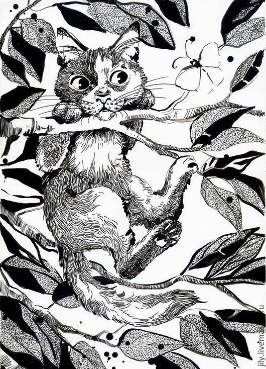Животные ручной работы. Ярмарка Мастеров - ручная работа. Купить Барсик. Handmade. Чёрно-белый, кот, котенок, бабочка, дерево