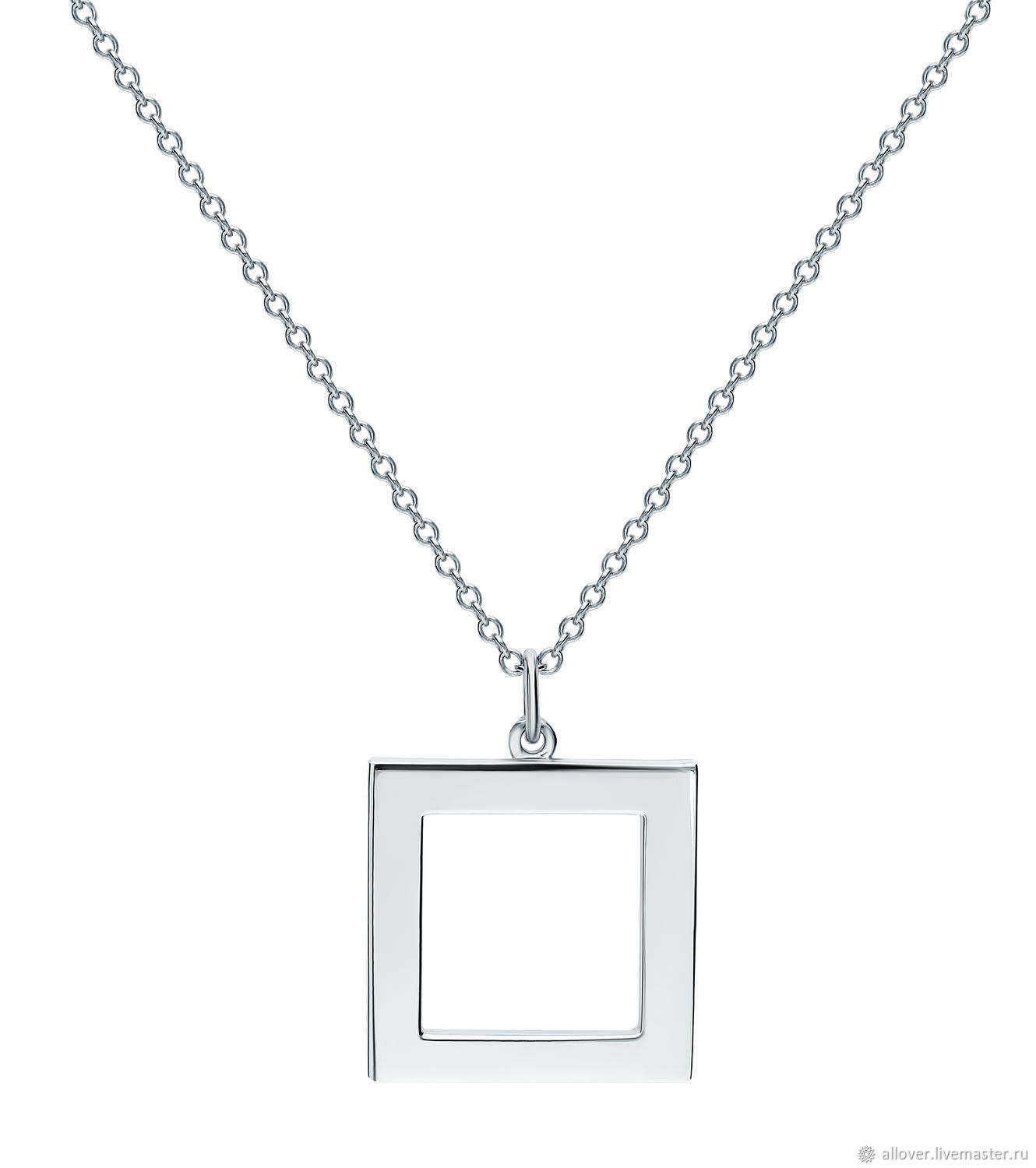 Pendant glossy geometry square 925 sterling silver, Necklace, Moscow,  Фото №1