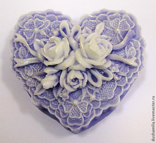 Мыло ручной работы. Ярмарка Мастеров - ручная работа. Купить Мыло Сердце с розами  2. Handmade. Сиреневый, ажурный, перламутр