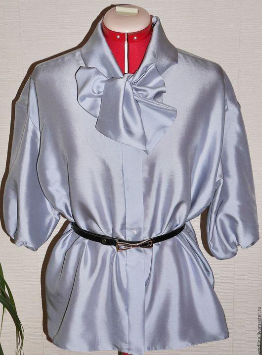 Блузки ручной работы. Ярмарка Мастеров - ручная работа. Купить Блузка из серебристого шелка с бантом. Handmade. Серый, блузка из шелка