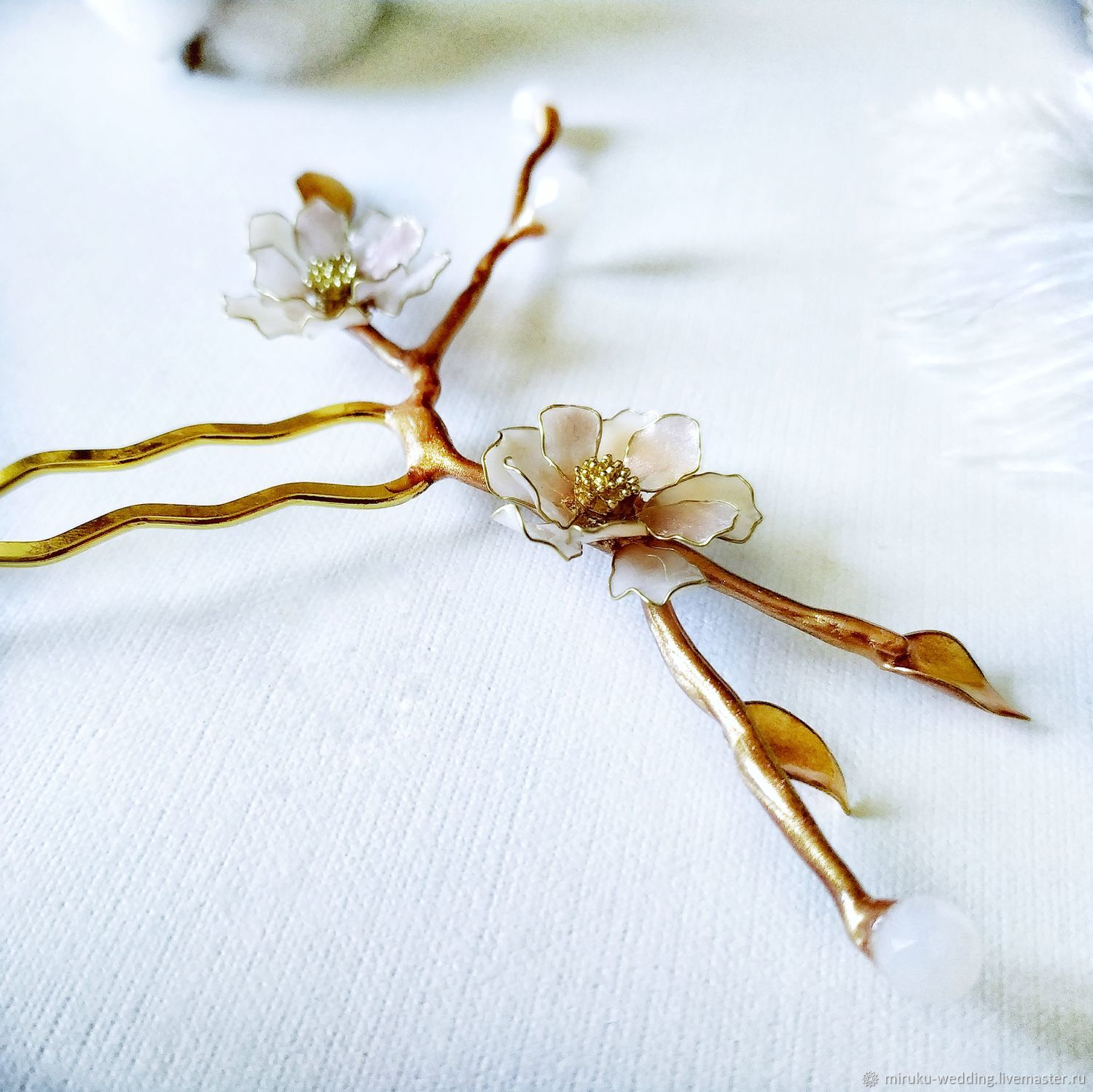 Hairpin Apricot Flowers for wedding or prom, Hairpin, Voronezh,  Фото №1