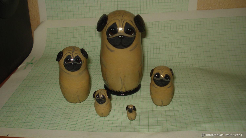 Folk Dolls handmade. Livemaster - handmade. Buy Matryoshka 'Pugs'.Dog, matryoshka, mopsik