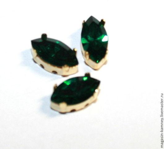 Для украшений ручной работы. Ярмарка Мастеров - ручная работа. Купить Сваровски наветт в цапах  10х5 мм, Emerald. Handmade.