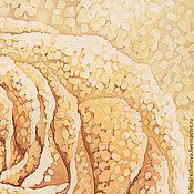 Картины и панно ручной работы. Ярмарка Мастеров - ручная работа Батик картина панно Сахарная Роза. Картина на шелке. Романтика. Крем. Handmade.