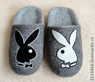 Обувь ручной работы. Ярмарка Мастеров - ручная работа. Купить домашние валяные тапочки из натуральной шерсти Playboy. Handmade. Серый