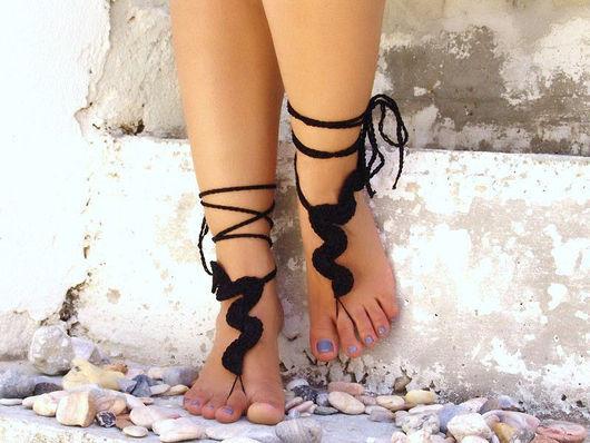 Носки, Чулки ручной работы. Ярмарка Мастеров - ручная работа. Купить Модный аксессуар для ног,летняя мода,босые сандалии. Handmade.