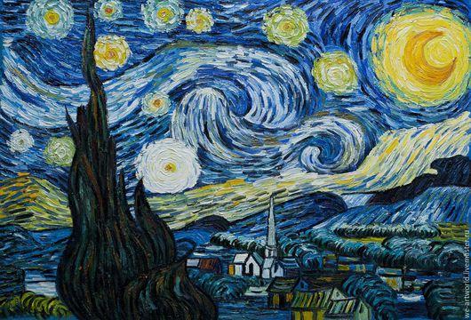 """Пейзаж ручной работы. Ярмарка Мастеров - ручная работа. Купить Копия картины Ван Гога """"Звездная ночь"""" (копия Анджея Влодарчика). Handmade."""