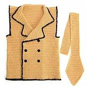 Работы для детей, ручной работы. Ярмарка Мастеров - ручная работа Жилетка для мальчика с галстуком (жилет, бежевый, жилеты, вязаный). Handmade.