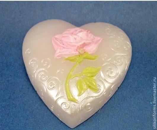 Материалы для косметики ручной работы. Ярмарка Мастеров - ручная работа. Купить Силиконовая форма для мыла Сердце с розой.. Handmade. Сердце